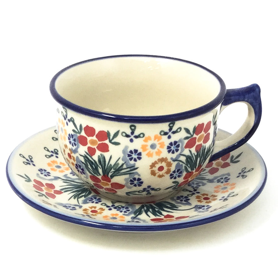Polish Pottery Tea Cup w/ Saucer 8 oz in Delicate Flowers Delicate Flowers