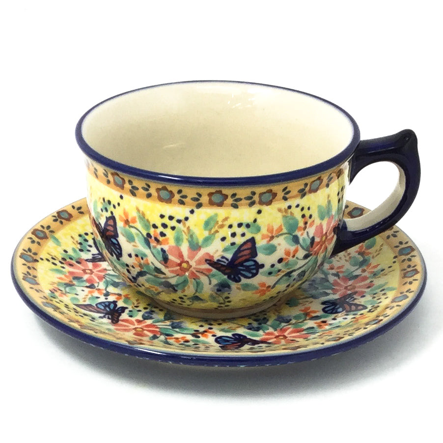 Polish Pottery Tea Cup w/ Saucer 8 oz in Butterfly Meadow Butterfly Meadow