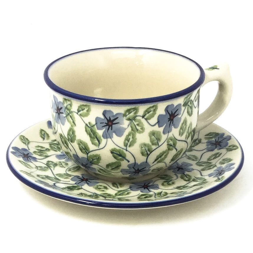 Polish Pottery Tea Cup w/ Saucer 8 oz in Blue Clematis Blue Clematis