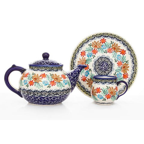 Polish Pottery Creamer & Sugar Set w/ Tray (K-091S) Late Fall