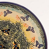 "Polish Pottery Sm Fluted Bowl 9""x3"" (M-119) Butterfly Field"