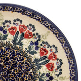 "Polish Pottery Sm Fluted Bowl 9""x3"" (M-119) Red Tulips"