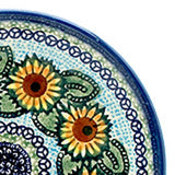 "Polish Pottery Fluted Pasta Bowl 15""x3.5"" (P-130) Sunflowers"