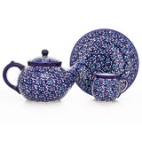 Polish Pottery Travel Cup 14 oz (K-115) All Blue Flowers