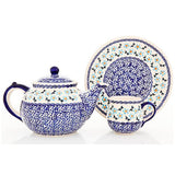 Polish Pottery Travel Cup 14 oz (K-115) Blue Daisy