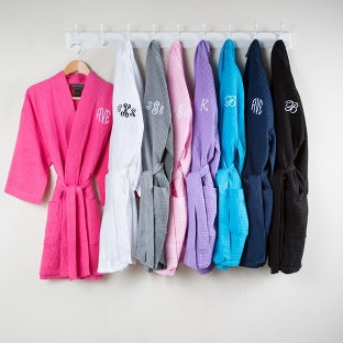 monogrammed bridesmaid gifts, personalized waffle robes, wedding day robes, robes for bridesmaids