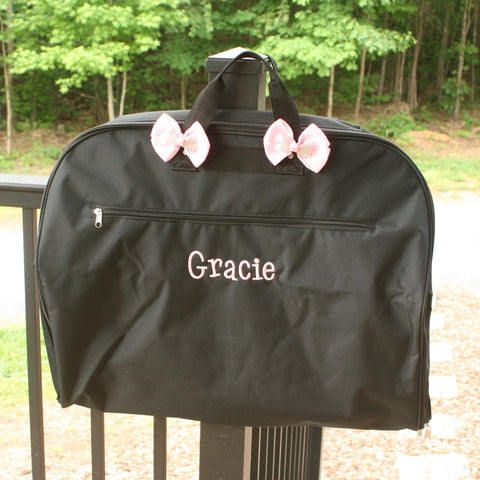 black glitter garment bag