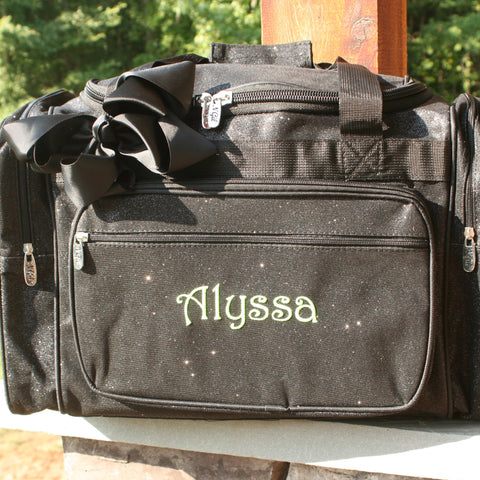 personalized black glitter duffel bag