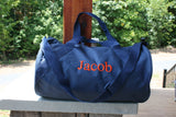 personalized navy gym bag