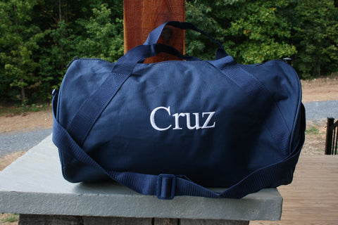personalized navy duffel bag