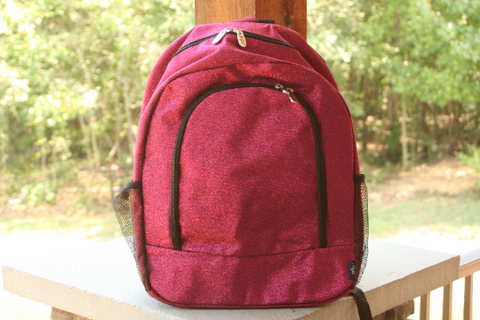 hot pink glitter backpack