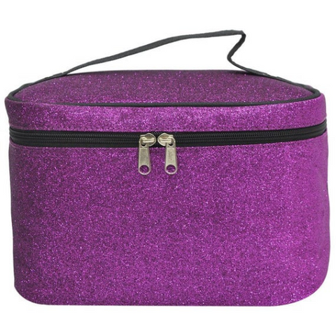 personalized purple glitter cosmetic bag