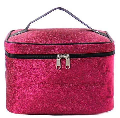 Personalized Hot Pink Glitter Cosmetic Bag