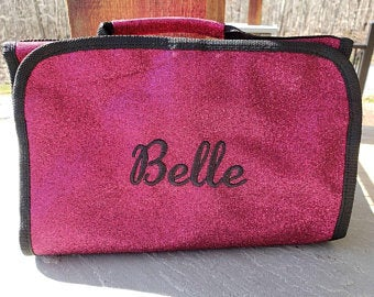 Glitter Hanging Cosmetic Bag Pink Personalized Make Up Bag