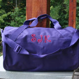 monogrammed purple duffel bag