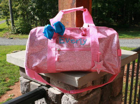 large light pink glitter dance bag