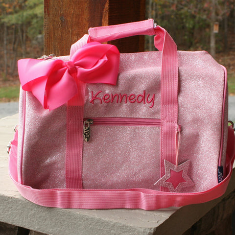 light pink personalized mini glitter dance bag