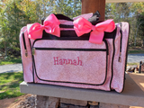 Personalized Large Glitter Dance Bag Light Pink Duffel Bag