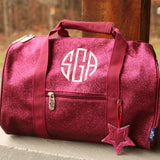hot pink glitter duffel bag with initials
