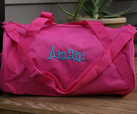 personalized hot pink dance duffel