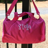 Monogrammed Bags - Personalized Hot Pink Round Duffel Bag