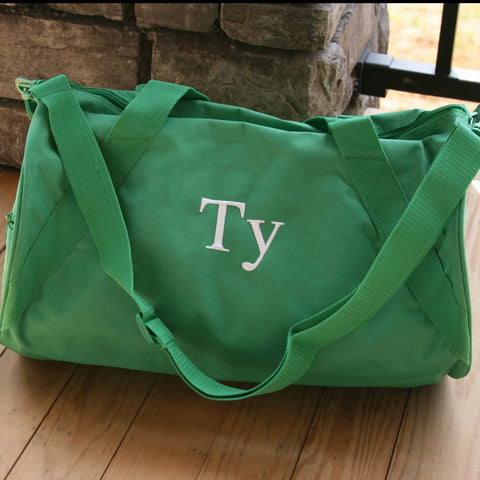 Monogrammed Bags - Personalized Round Green Duffle Bag