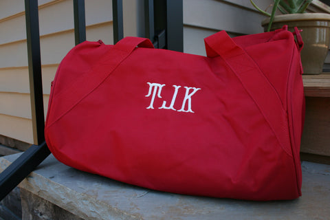 Monogrammed Bags - Red Duffel Bag