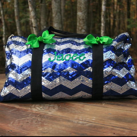 monogrammed royal blue chevron dance bag
