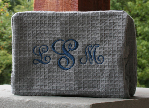 personalized gray waffle weave cosmetic bag