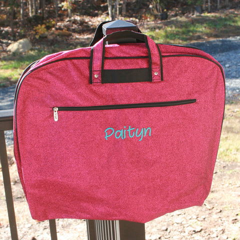 hot pink glitter garment bag