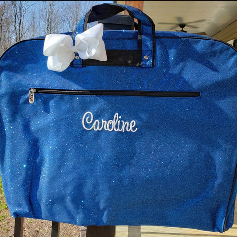 royal blue glitter garment bag with name