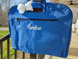 personalized royal blue glitter garment bag
