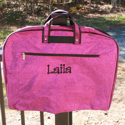 purple glitter cheer bag
