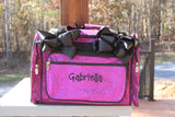 monogrammed purple glitter cheer duffel