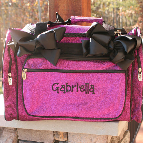 personalized purple glitter dance bag