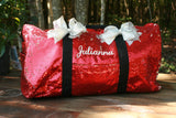 personalized dance duffel bag red sequins