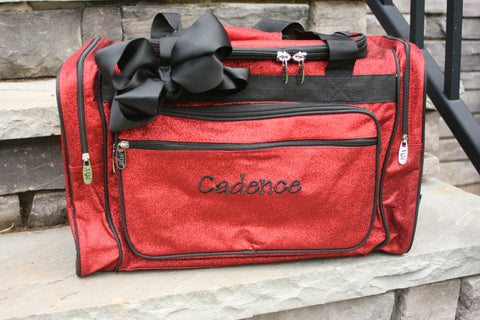personalized red glitter dance bag