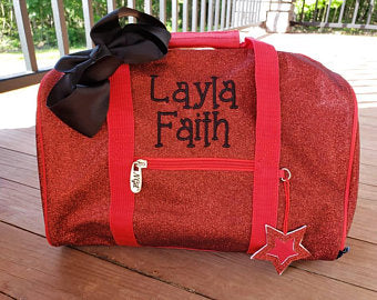 personalized red mini glitter dance bag