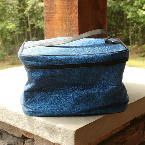 royal blue glitter cosmetic bag