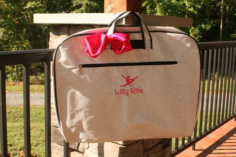 personalized silver glitter garment bag for dance
