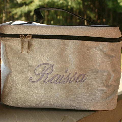 silver glitter large cosmetic bag