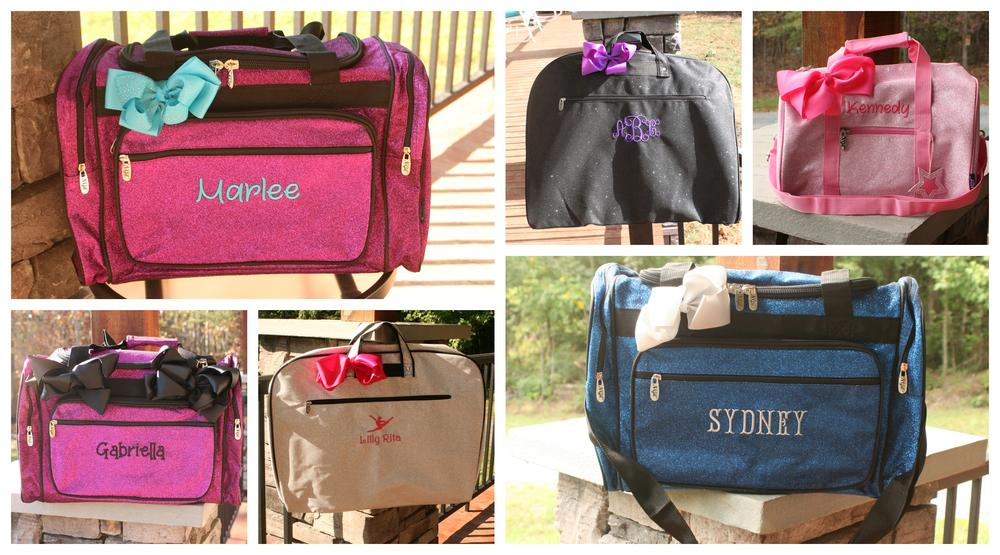 personalized hot pink sequin dance duffel