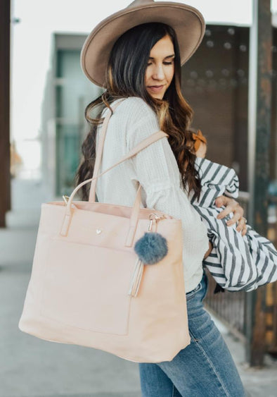 "Coco and Kiwi - Hello Sunshine Carryall in ""Life is Peachy Pink"" - Diaper Bag"