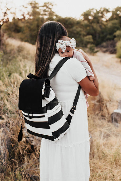 Austin Backpack /Black and White Striped/