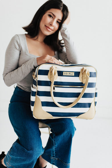 Provence Diaper Bag & Backpack /Navy Stripe/