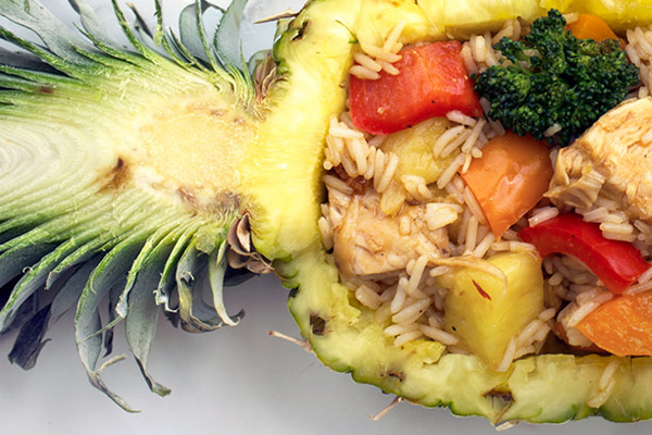 Chicken Teriyaki Pineapple Bowl with Coconut Rice