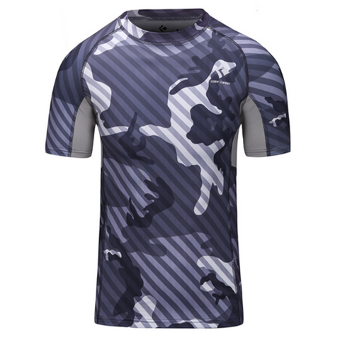 Camouflage Stripe Base Layer Bodybuilding Slim Fit Men Thermal Sport T-Shirt - Rama Deals - 3