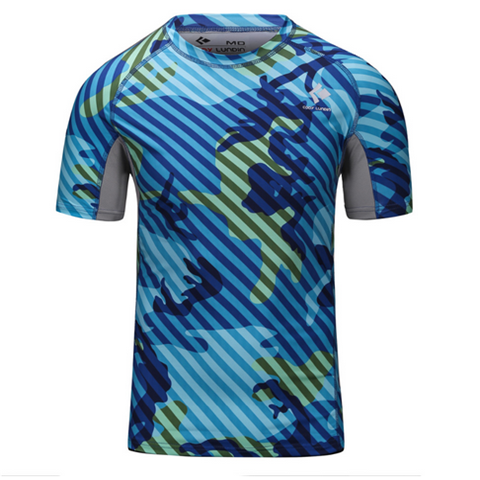 Camouflage Stripe Base Layer Bodybuilding Slim Fit Men Thermal Sport T-Shirt - Rama Deals - 2