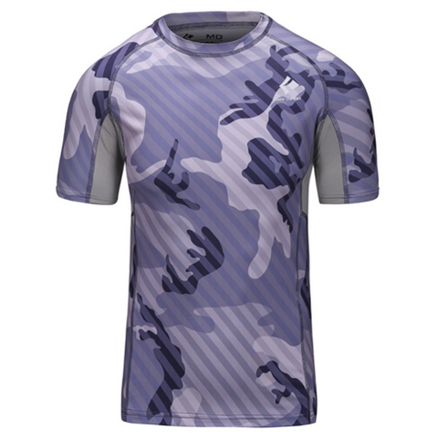Camouflage Stripe Base Layer Bodybuilding Slim Fit Men Thermal Sport T-Shirt - Rama Deals - 4