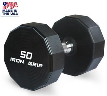 Iron Grip Solid Steel Urethane Dumbbells 5 to 50 Lbs. Set - Fitness Trendz USA